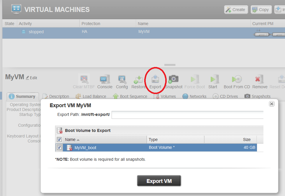 Screenshot van everRun virtuele machine export functie