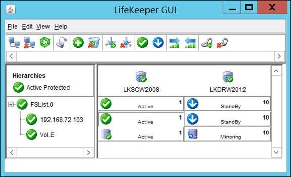 Screenshot van het LifeKeeper dashboard